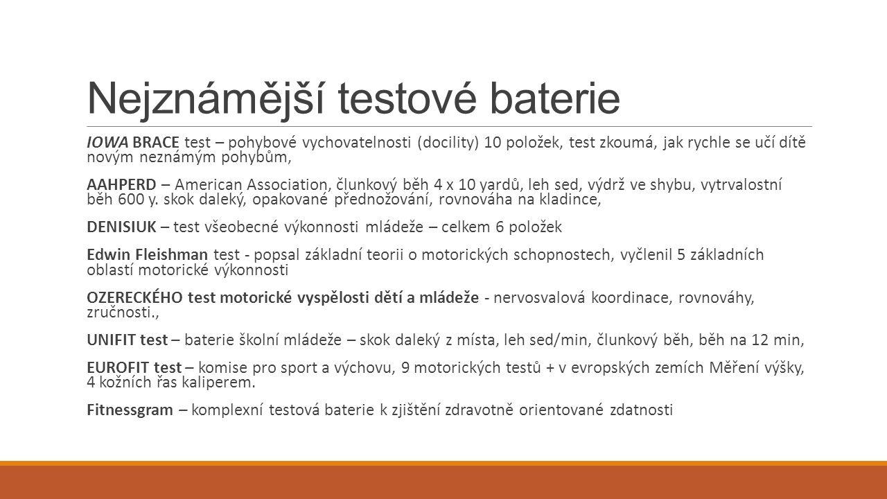 Fitnessgram o * označuje doporučené testy
