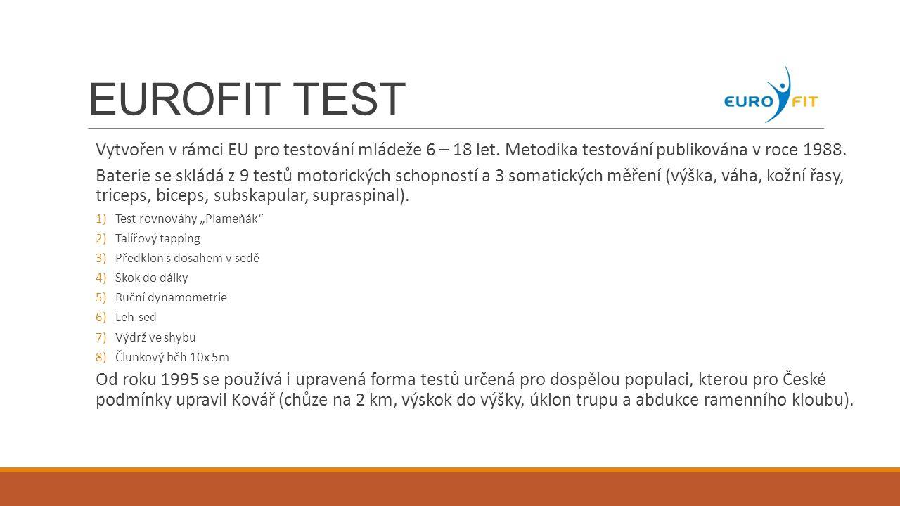 UNIFIT TEST V ČR prakticky nejpoužívanější testový systém po roce 1989.