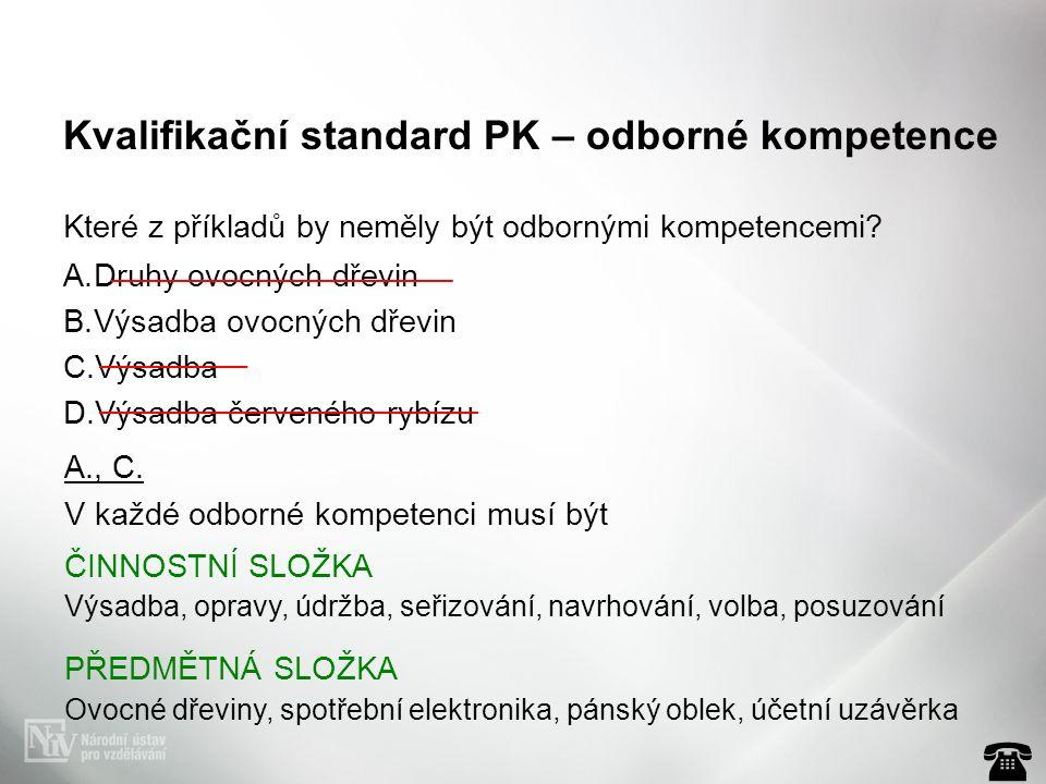 Kvalifikační standard PK – odborné kompetence Které z příkladů by neměly být odbornými kompetencemi? A.Druhy ovocných dřevin B.Výsadba ovocných dřevin