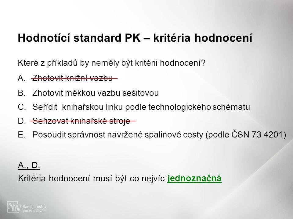 Hodnotící standard PK – kritéria hodnocení Které z příkladů by neměly být kritérii hodnocení? A.Zhotovit knižní vazbu B.Zhotovit měkkou vazbu sešitovo