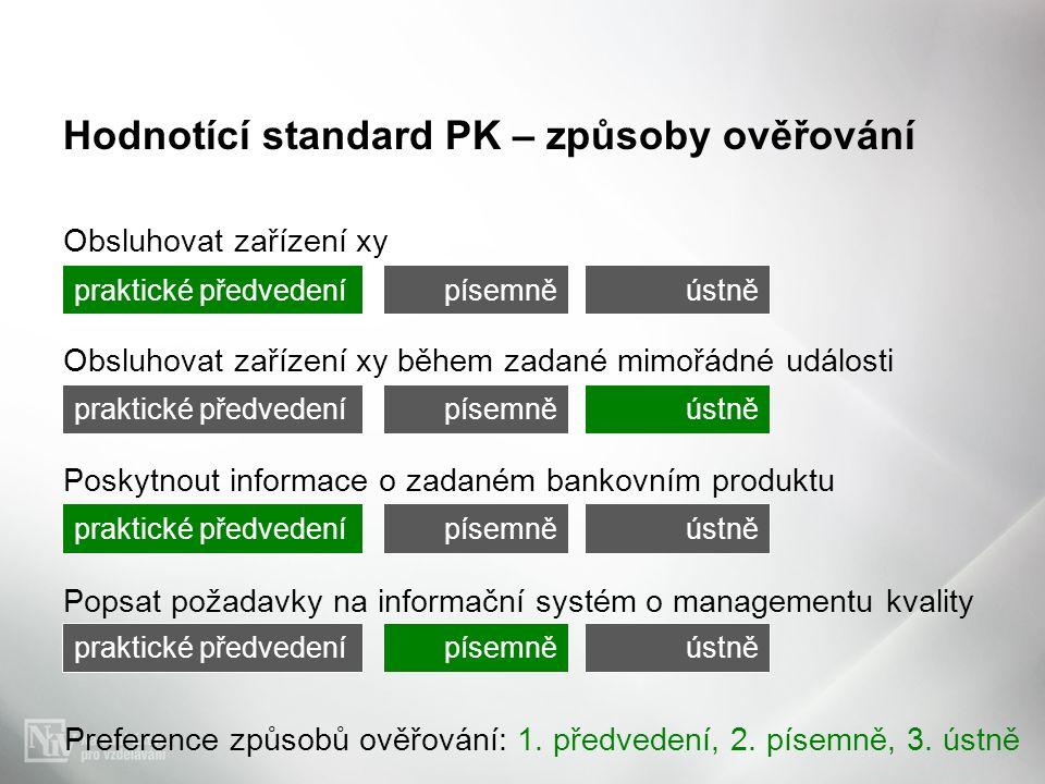 Hodnotící standard PK – způsoby ověřování Obsluhovat zařízení xy Obsluhovat zařízení xy během zadané mimořádné události Poskytnout informace o zadaném bankovním produktu Popsat požadavky na informační systém o managementu kvality Preference způsobů ověřování: 1.