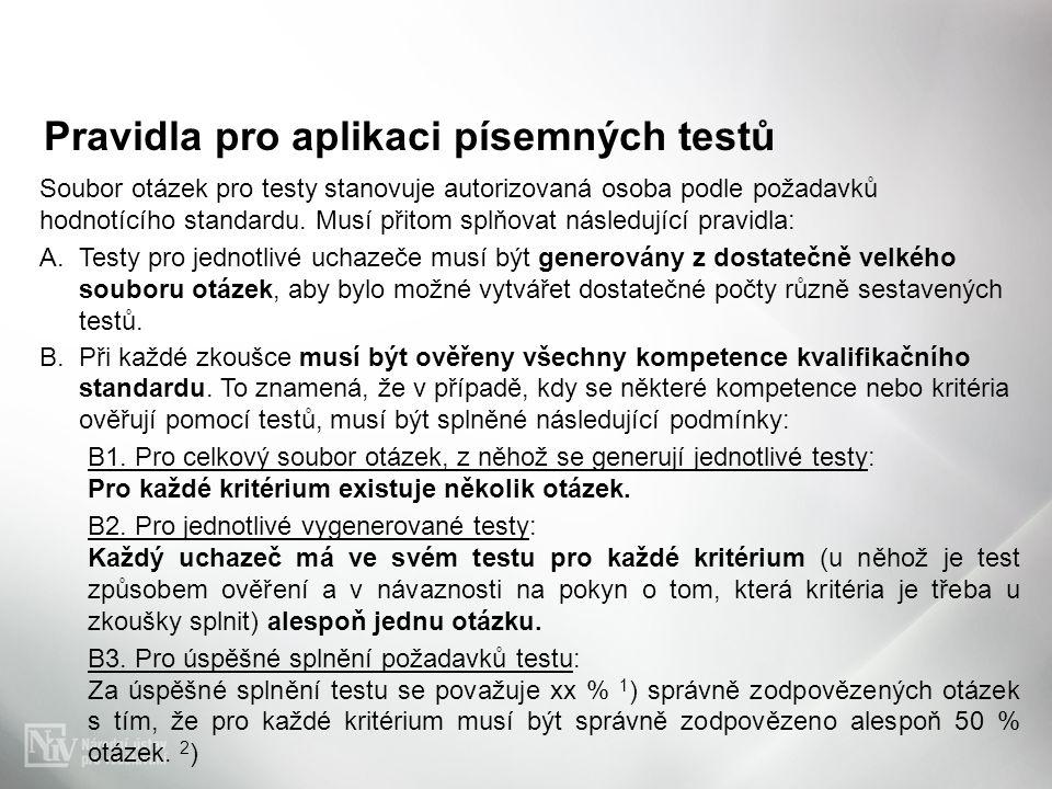 Pravidla pro aplikaci písemných testů Soubor otázek pro testy stanovuje autorizovaná osoba podle požadavků hodnotícího standardu. Musí přitom splňovat
