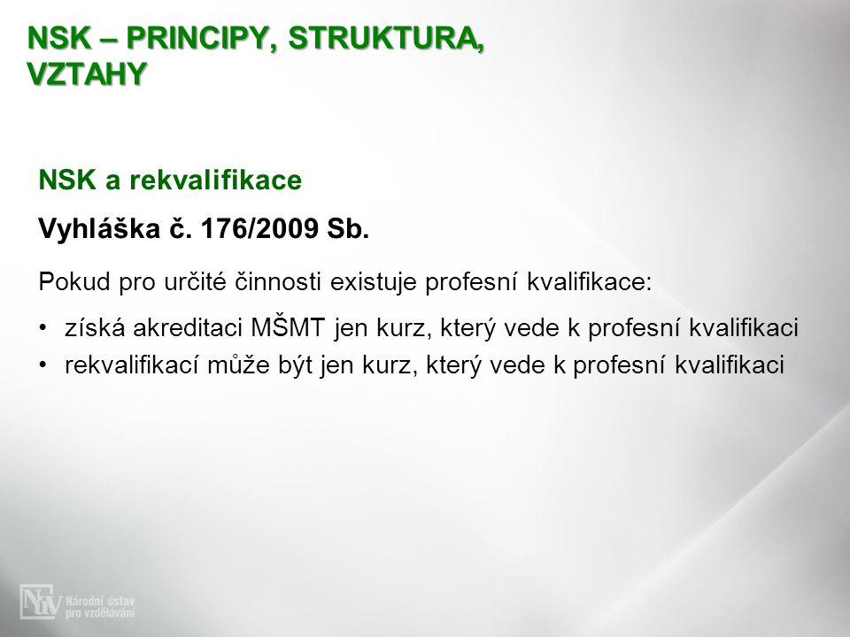 NSK – PRINCIPY, STRUKTURA, VZTAHY NSK a rekvalifikace Vyhláška č. 176/2009 Sb. Pokud pro určité činnosti existuje profesní kvalifikace: získá akredita