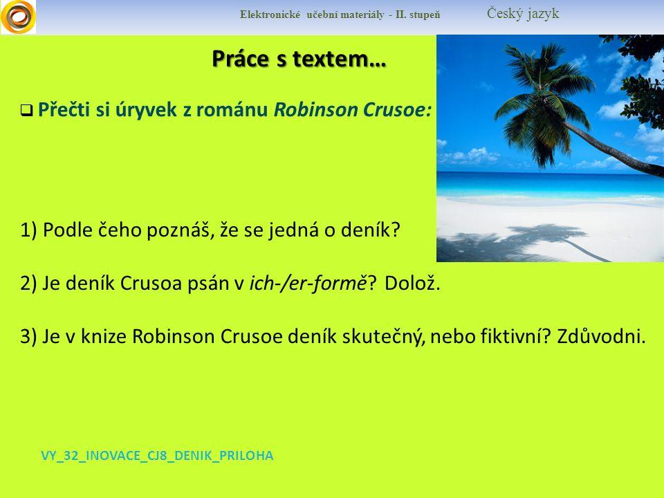 Práce s textem… Práce s textem… Elektronické učební materiály - II.