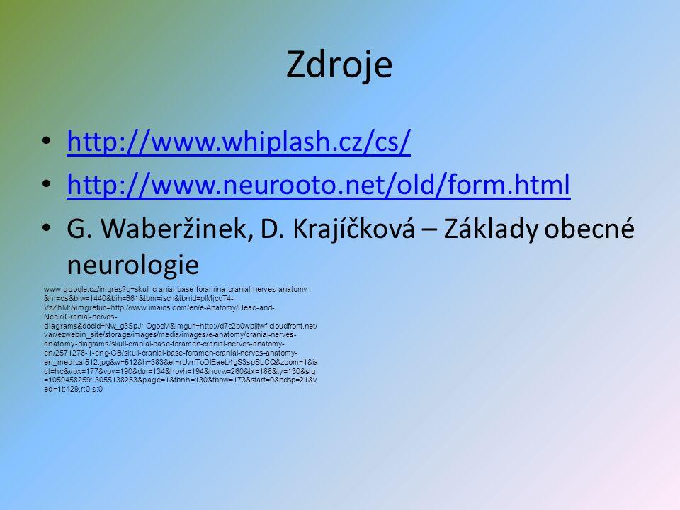 Zdroje http://www.whiplash.cz/cs/ http://www.neurooto.net/old/form.html G.