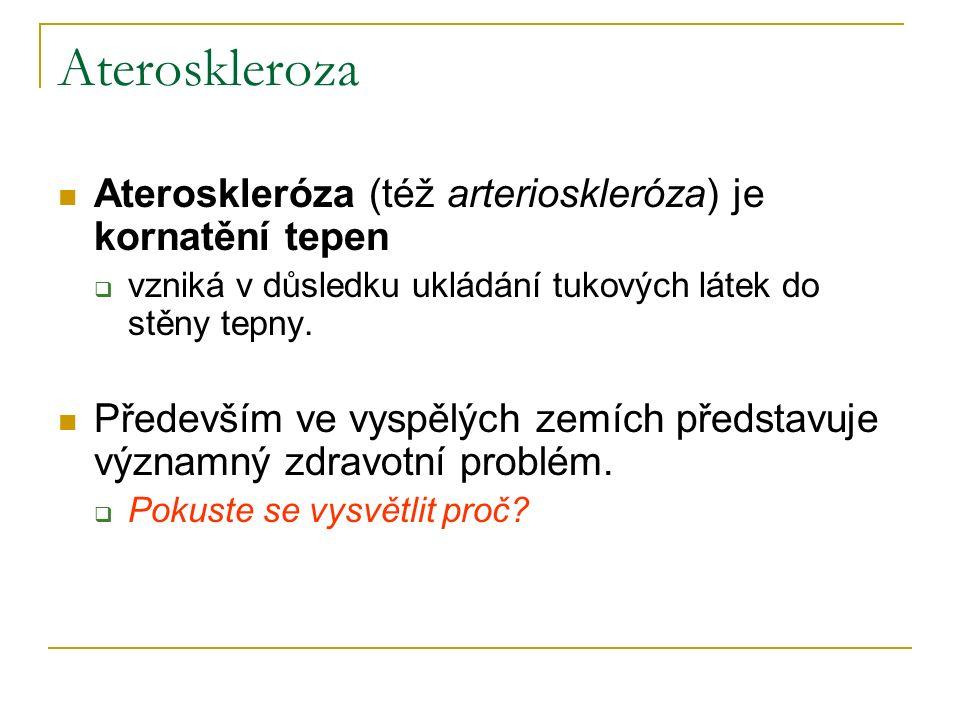 Ateroskleroza Ateroskleróza (též arterioskleróza) je kornatění tepen  vzniká v důsledku ukládání tukových látek do stěny tepny.