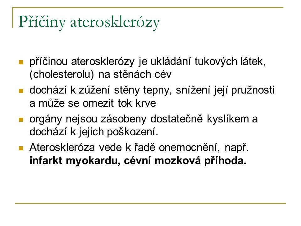 Příčiny aterosklerózy příčinou aterosklerózy je ukládání tukových látek, (cholesterolu) na stěnách cév dochází k zúžení stěny tepny, snížení její pružnosti a může se omezit tok krve orgány nejsou zásobeny dostatečně kyslíkem a dochází k jejich poškození.