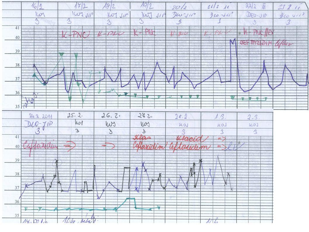 Hospitalizace FN Motol 2.3.-14.3.2011 Zhoršení klinického stavu / anemie Hb 76/.