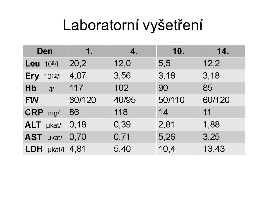 CK, myoglobin, Ig, C4K, C3K, CIK v normě EBV, CMV, Borrelie, ASLO, markery hepatitid negat.