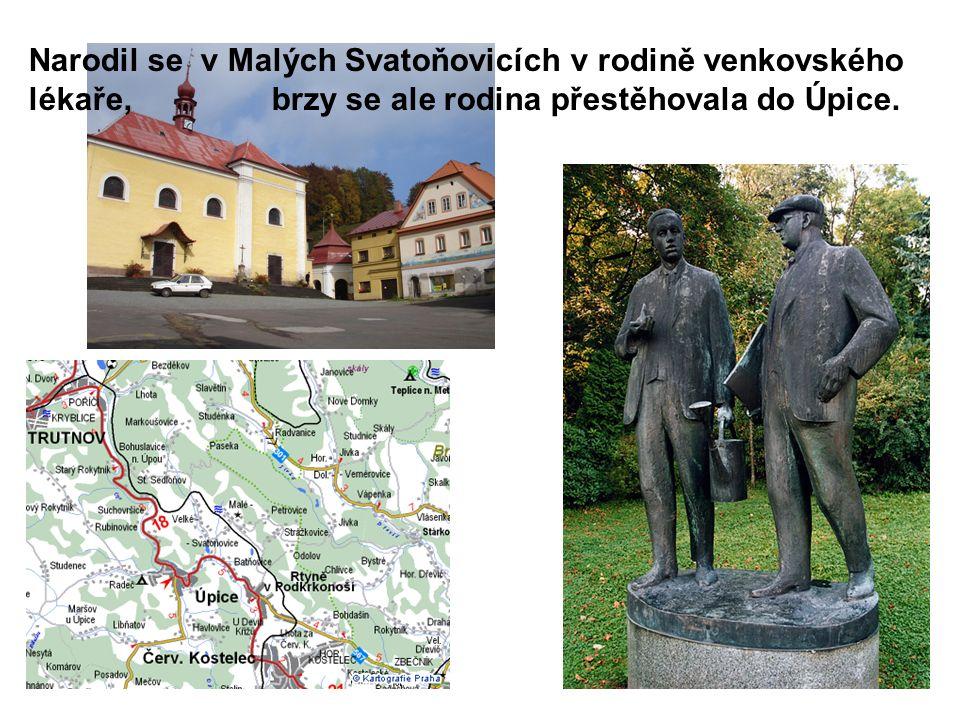 Narodil se v Malých Svatoňovicích v rodině venkovského lékaře, brzy se ale rodina přestěhovala do Úpice.