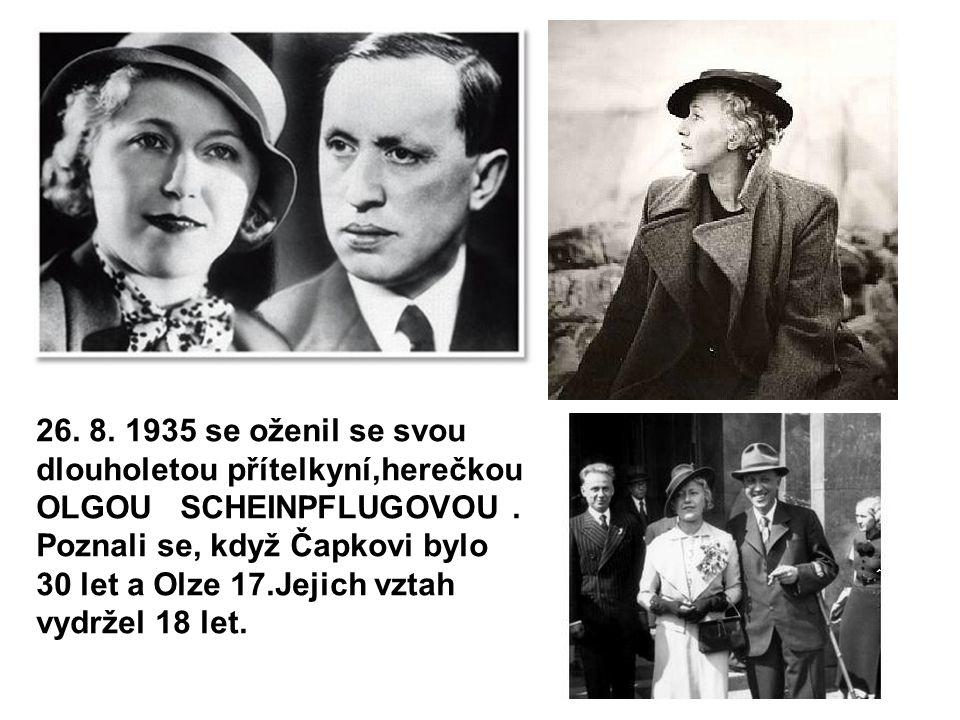 Zleva: ???, Karel Čapek, Hugo Haas, Olga Scheinpflugová, Vladimír Kabelík a Josef Čapek Karel Čapek s T.G.