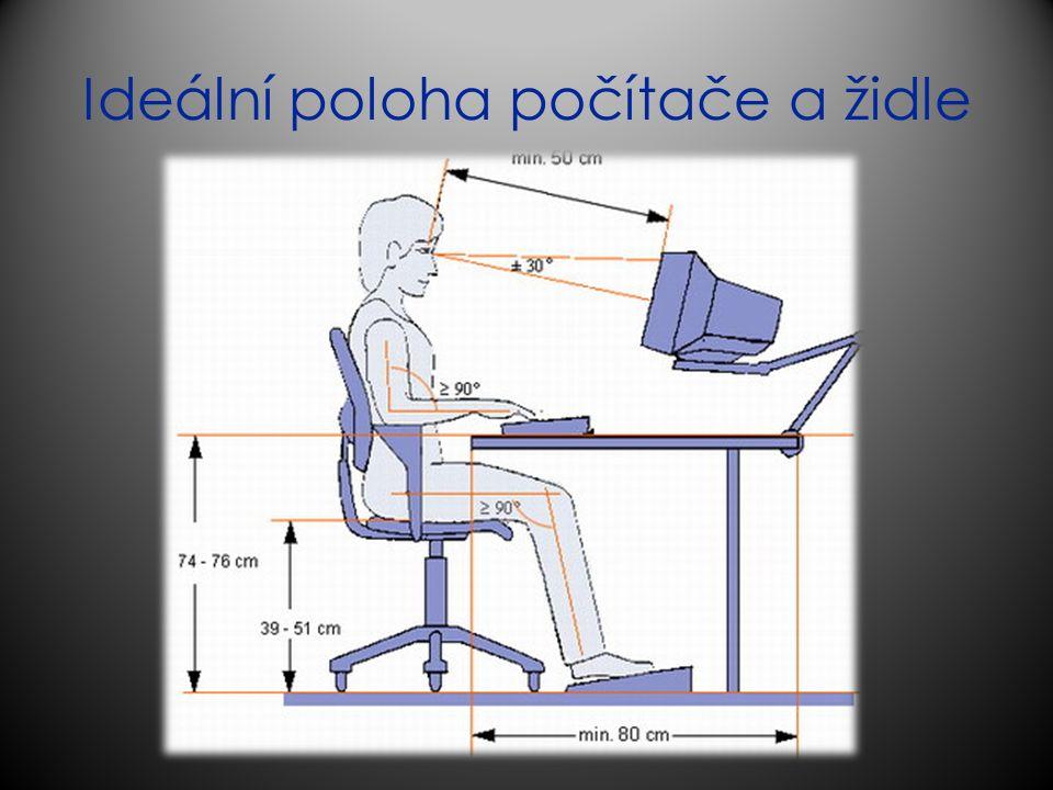 Ideální poloha počítače a židle
