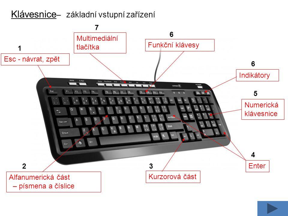 Klávesnice – význam kláves Enter – potvrdí operaci, odešle data Insert – přepne režim vložení a přepisování Delete – mazání znaků vpravo od kurzoru Home – kurzor posune na začátku řádku End – kurzor posune na konec řádku Backspace – smaže znak vlevo od kurzoru Esc – krok zpět, návrat Shift – přeřazení na horní funkci klávesy, velká písmena Ctrl, Alt – pro kombinaci s další klávesou Caps Lock – trvale zapíná horní funkci kláves, velká písmena Num Lock – zapíná a vypíná numerickou klávesu F1 – F12 – funkční klávesy Pause – pozastavení běhu počítače
