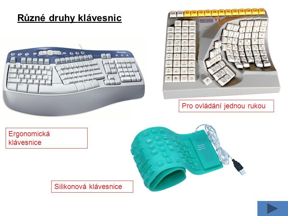 Různé druhy klávesnic Ergonomická klávesnice Silikonová klávesnice Pro ovládání jednou rukou