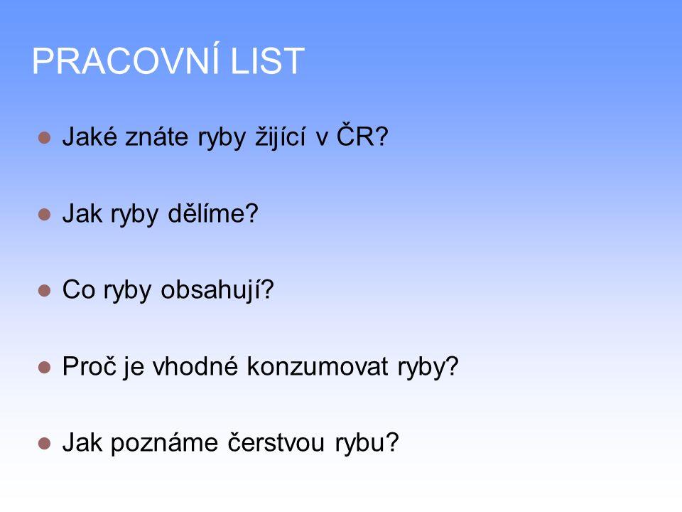 PRACOVNÍ LIST Jaké znáte ryby žijící v ČR. Jak ryby dělíme.