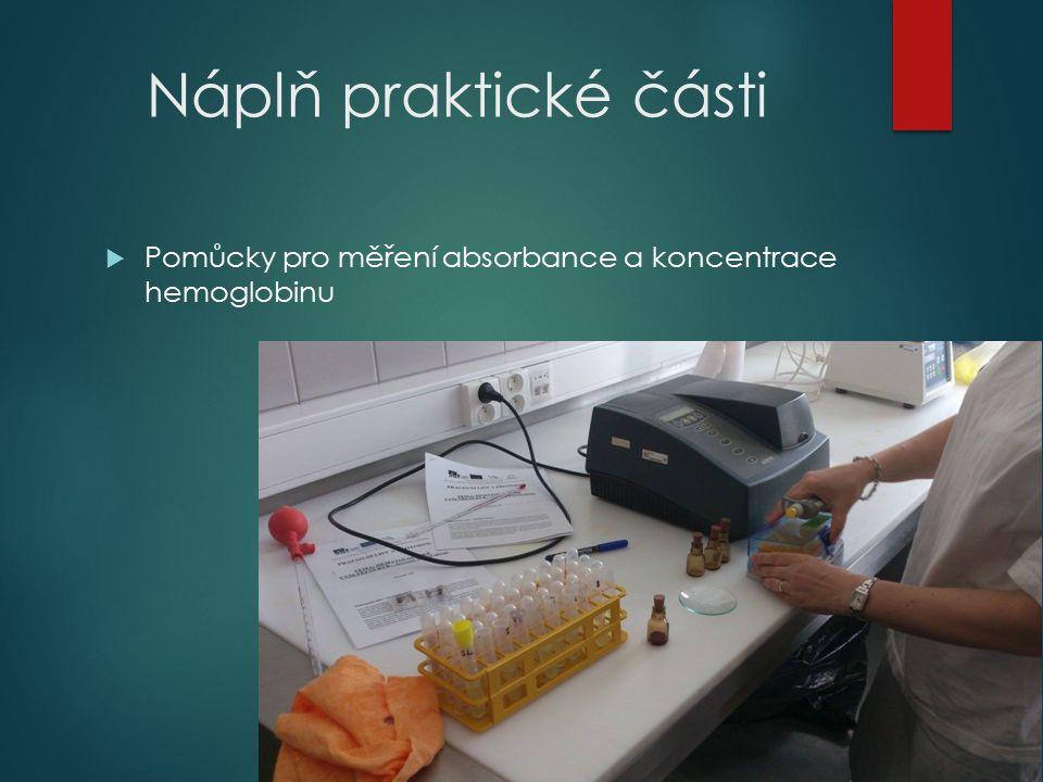 Náplň praktické části  Pomůcky pro měření absorbance a koncentrace hemoglobinu