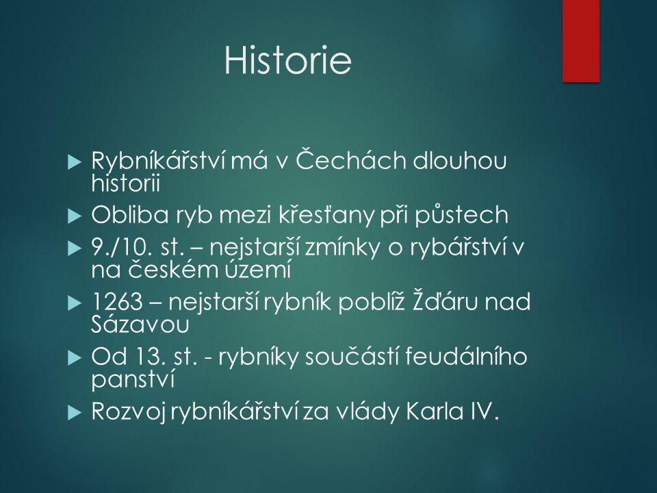 Historie  Rybníkářství má v Čechách dlouhou historii  Obliba ryb mezi křesťany při půstech  9./10.