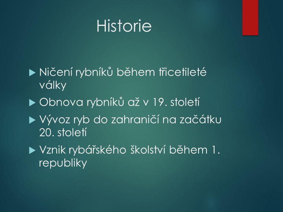 Historie  Ničení rybníků během třicetileté války  Obnova rybníků až v 19.