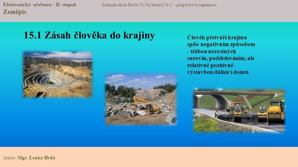 15.1 Zásah člověka do krajiny Elektronická učebnice - II.