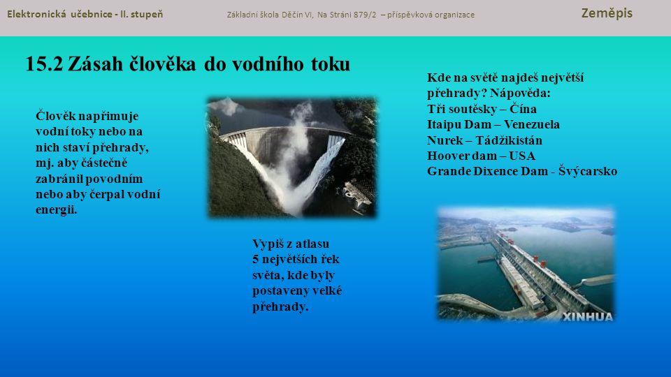 15.2 Zásah člověka do vodního toku Elektronická učebnice - II.