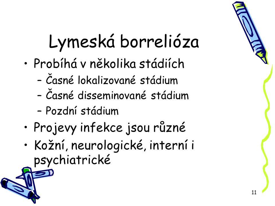 11 Lymeská borrelióza Probíhá v několika stádiích –Časné lokalizované stádium –Časné disseminované stádium –Pozdní stádium Projevy infekce jsou různé Kožní, neurologické, interní i psychiatrické