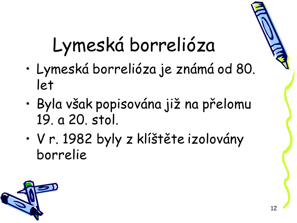 12 Lymeská borrelióza Lymeská borrelióza je známá od 80.