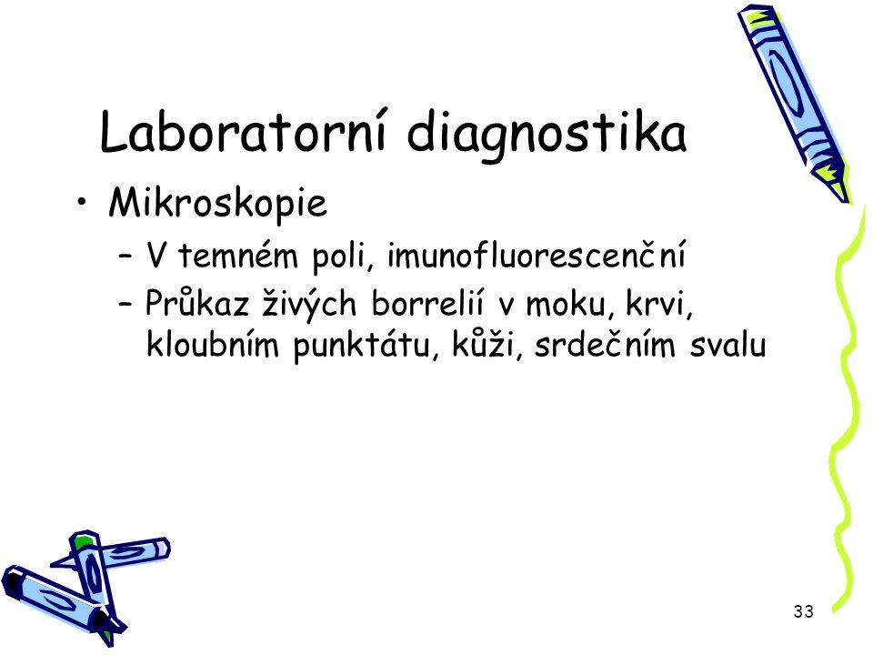 33 Laboratorní diagnostika Mikroskopie –V temném poli, imunofluorescenční –Průkaz živých borrelií v moku, krvi, kloubním punktátu, kůži, srdečním svalu