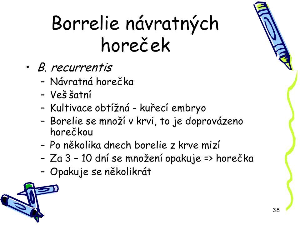 38 Borrelie návratných horeček B.
