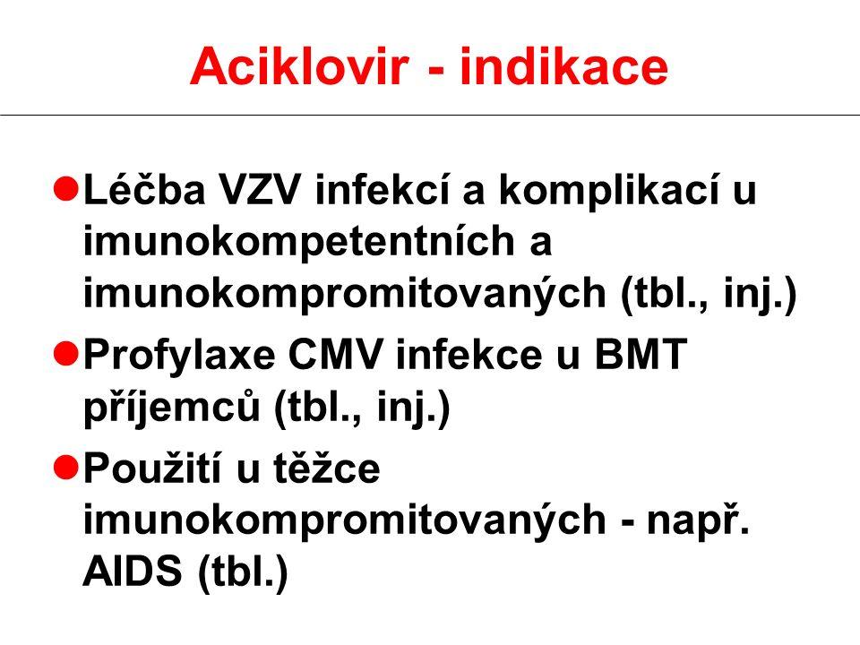 Aciklovir - indikace lLéčba VZV infekcí a komplikací u imunokompetentních a imunokompromitovaných (tbl., inj.) lProfylaxe CMV infekce u BMT příjemců (tbl., inj.) lPoužití u těžce imunokompromitovaných - např.