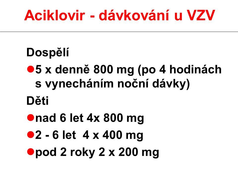Dospělí l5 x denně 800 mg (po 4 hodinách s vynecháním noční dávky) Děti lnad 6 let 4x 800 mg l2 - 6 let 4 x 400 mg lpod 2 roky 2 x 200 mg Aciklovir - dávkování u VZV