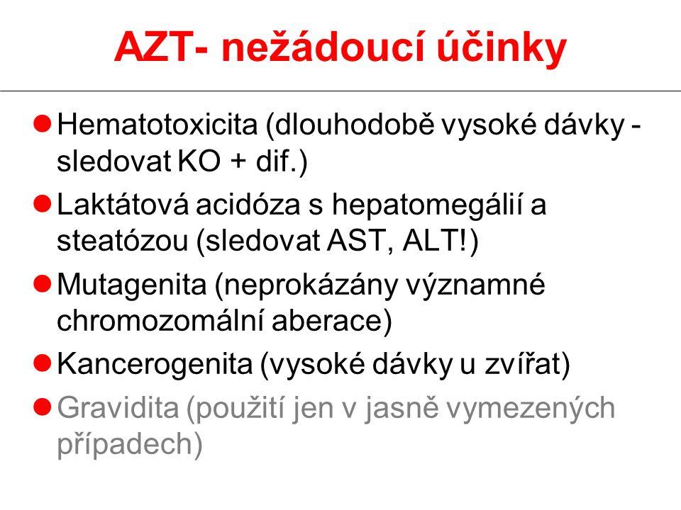 AZT- nežádoucí účinky lHematotoxicita (dlouhodobě vysoké dávky - sledovat KO + dif.) lLaktátová acidóza s hepatomegálií a steatózou (sledovat AST, ALT!) lMutagenita (neprokázány významné chromozomální aberace) lKancerogenita (vysoké dávky u zvířat) lGravidita (použití jen v jasně vymezených případech)