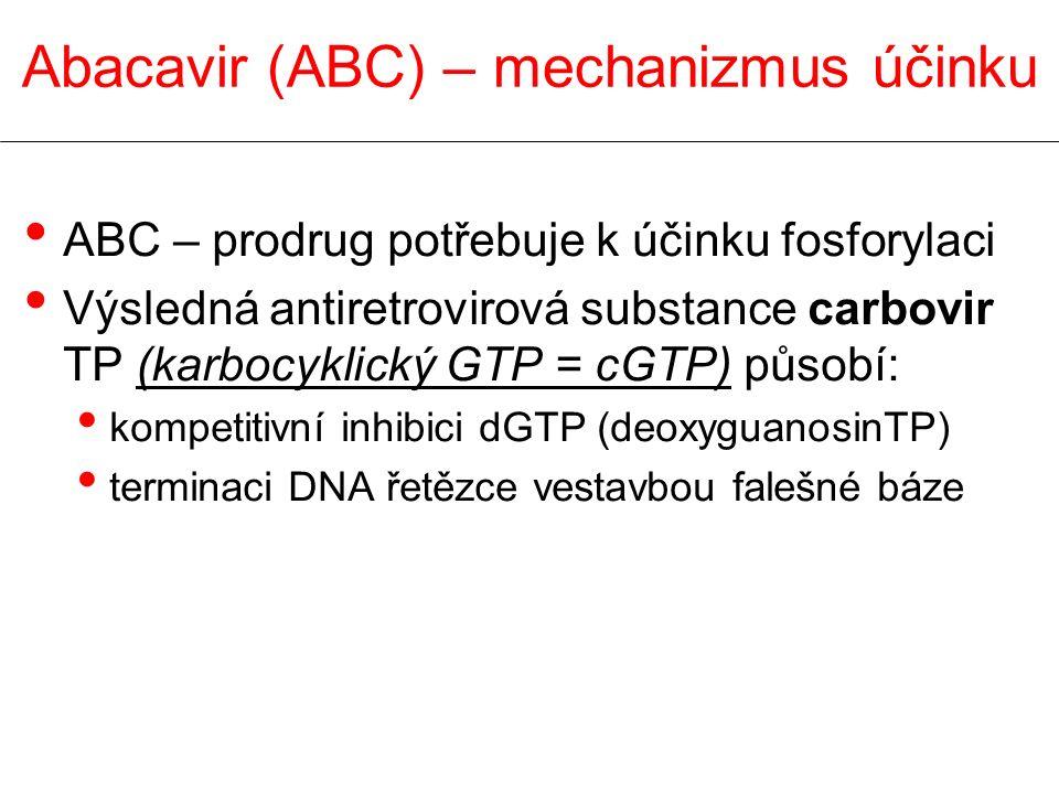 ABC – prodrug potřebuje k účinku fosforylaci Výsledná antiretrovirová substance carbovir TP (karbocyklický GTP = cGTP) působí: kompetitivní inhibici dGTP (deoxyguanosinTP) terminaci DNA řetězce vestavbou falešné báze Abacavir (ABC) – mechanizmus účinku