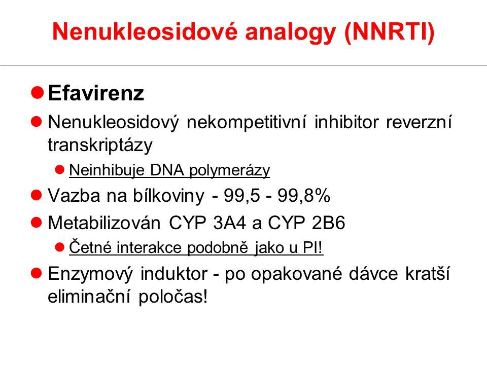 Nenukleosidové analogy (NNRTI) lEfavirenz lNenukleosidový nekompetitivní inhibitor reverzní transkriptázy lNeinhibuje DNA polymerázy lVazba na bílkoviny - 99,5 - 99,8% lMetabilizován CYP 3A4 a CYP 2B6 lČetné interakce podobně jako u PI.