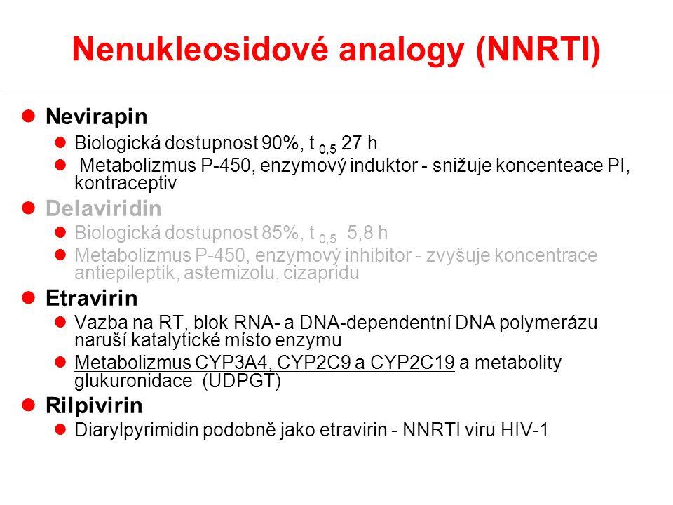 lNevirapin lBiologická dostupnost 90%, t 0,5 27 h l Metabolizmus P-450, enzymový induktor - snižuje koncenteace PI, kontraceptiv lDelaviridin lBiologická dostupnost 85%, t 0,5 5,8 h lMetabolizmus P-450, enzymový inhibitor - zvyšuje koncentrace antiepileptik, astemizolu, cizapridu lEtravirin lVazba na RT, blok RNA- a DNA-dependentní DNA polymerázu naruší katalytické místo enzymu lMetabolizmus CYP3A4, CYP2C9 a CYP2C19 a metabolity glukuronidace (UDPGT) lRilpivirin lDiarylpyrimidin podobně jako etravirin - NNRTI viru HIV-1 Nenukleosidové analogy (NNRTI)