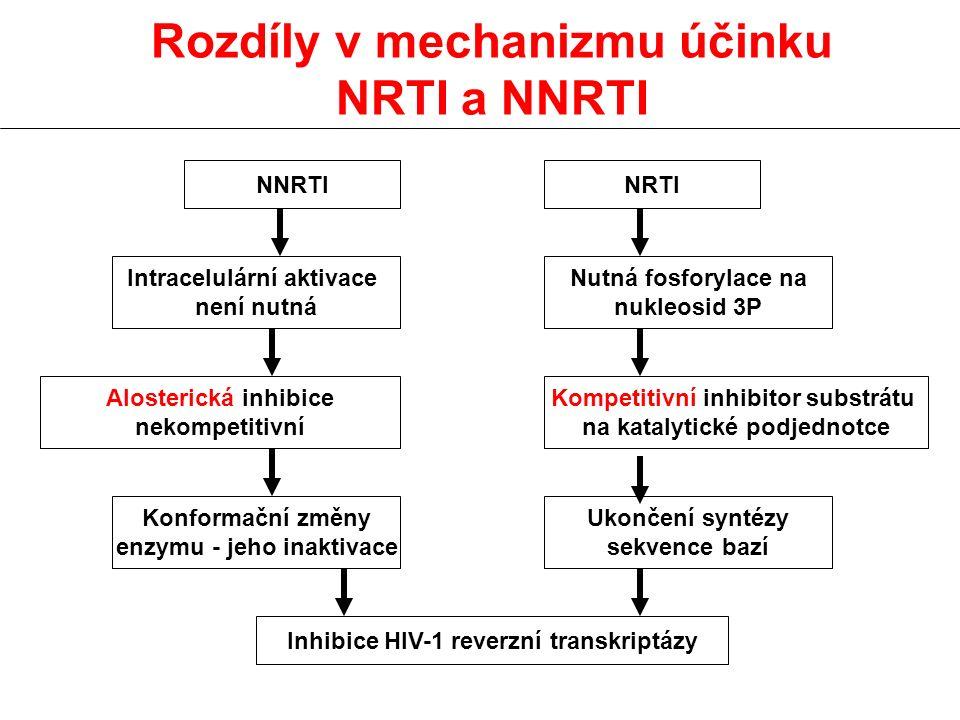 Rozdíly v mechanizmu účinku NRTI a NNRTI NNRTINRTI Intracelulární aktivace není nutná Nutná fosforylace na nukleosid 3P Alosterická inhibice nekompeti