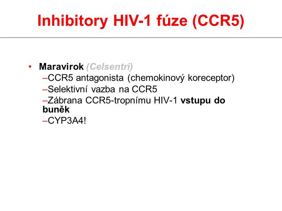 Maravirok (Celsentri) –CCR5 antagonista (chemokinový koreceptor) –Selektivní vazba na CCR5 –Zábrana CCR5-tropnímu HIV-1 vstupu do buněk –CYP3A4! Inhib