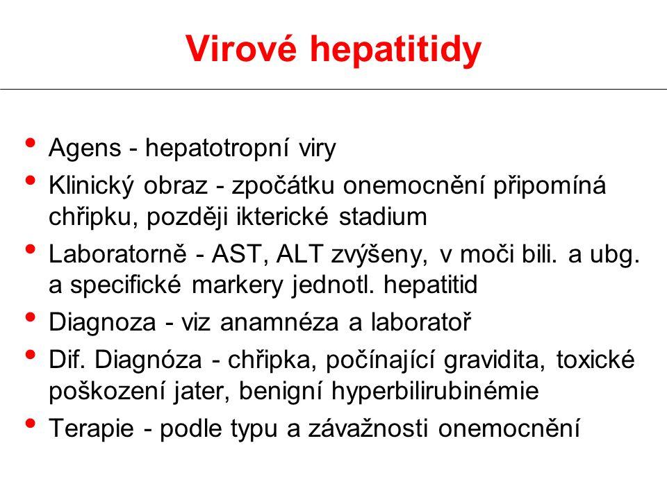 Agens - hepatotropní viry Klinický obraz - zpočátku onemocnění připomíná chřipku, později ikterické stadium Laboratorně - AST, ALT zvýšeny, v moči bili.