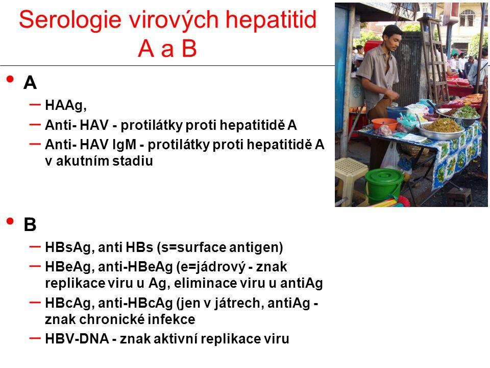 Serologie virových hepatitid A a B A – HAAg, – Anti- HAV - protilátky proti hepatitidě A – Anti- HAV IgM - protilátky proti hepatitidě A v akutním stadiu B – HBsAg, anti HBs (s=surface antigen) – HBeAg, anti-HBeAg (e=jádrový - znak replikace viru u Ag, eliminace viru u antiAg – HBcAg, anti-HBcAg (jen v játrech, antiAg - znak chronické infekce – HBV-DNA - znak aktivní replikace viru