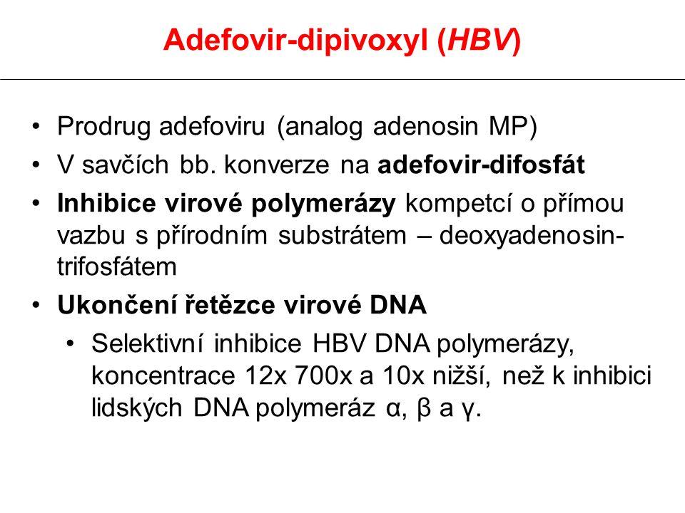 Adefovir-dipivoxyl (HBV) Prodrug adefoviru (analog adenosin MP) V savčích bb. konverze na adefovir-difosfát Inhibice virové polymerázy kompetcí o přím