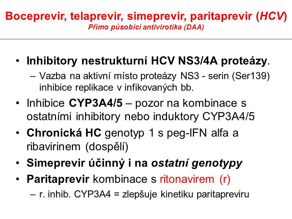 Inhibitory nestrukturní HCV NS3/4A proteázy. –Vazba na aktivní místo proteázy NS3 - serin (Ser139) inhibice replikace v infikovaných bb. Inhibice CYP3