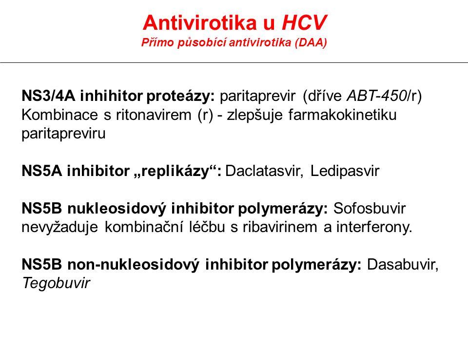 "Antivirotika u HCV Přímo působící antivirotika (DAA) NS3/4A inhihitor proteázy: paritaprevir (dříve ABT-450/r) Kombinace s ritonavirem (r) - zlepšuje farmakokinetiku paritapreviru NS5A inhibitor ""replikázy : Daclatasvir, Ledipasvir NS5B nukleosidový inhibitor polymerázy: Sofosbuvir nevyžaduje kombinační léčbu s ribavirinem a interferony."