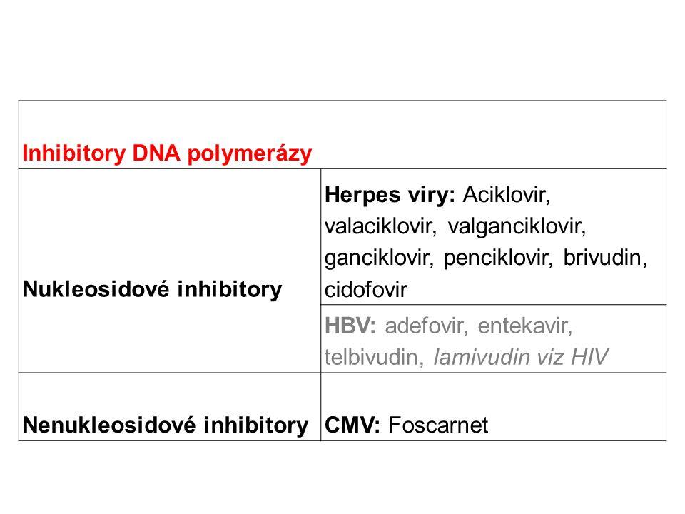 Inhibitory DNA polymerázy Nukleosidové inhibitory Herpes viry: Aciklovir, valaciklovir, valganciklovir, ganciklovir, penciklovir, brivudin, cidofovir HBV: adefovir, entekavir, telbivudin, lamivudin viz HIV Nenukleosidové inhibitoryCMV: Foscarnet