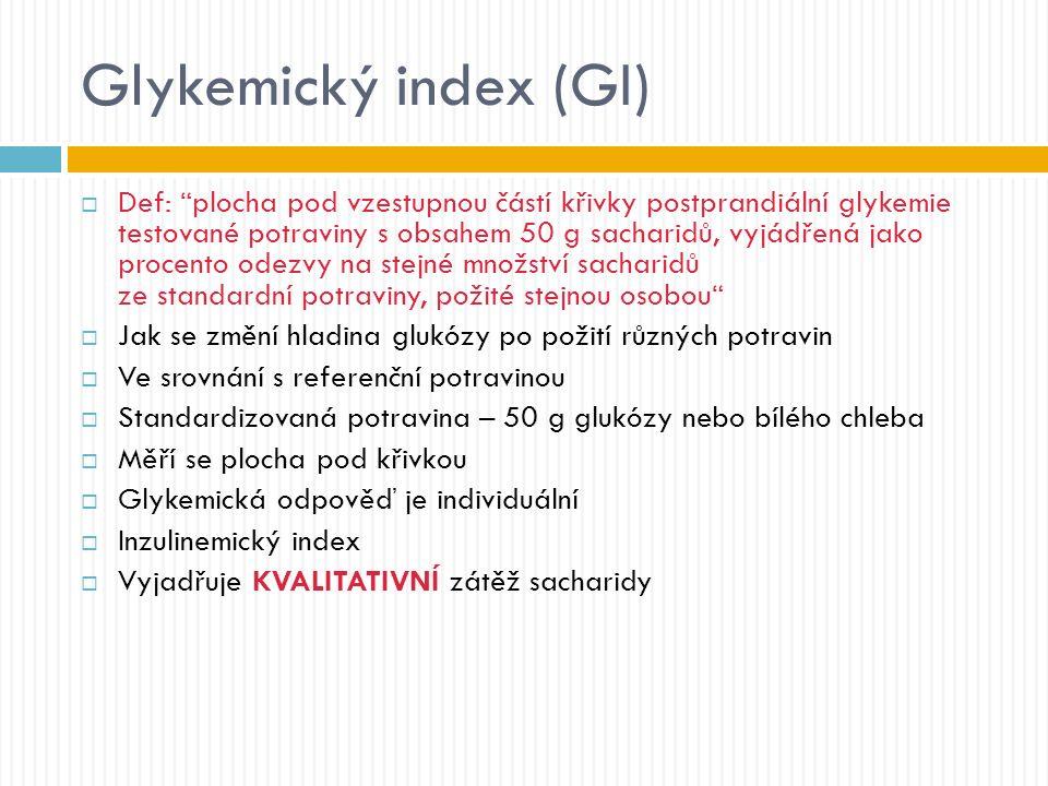 Glykemický index (GI)  Def: plocha pod vzestupnou částí křivky postprandiální glykemie testované potraviny s obsahem 50 g sacharidů, vyjádřená jako procento odezvy na stejné množství sacharidů ze standardní potraviny, požité stejnou osobou  Jak se změní hladina glukózy po požití různých potravin  Ve srovnání s referenční potravinou  Standardizovaná potravina – 50 g glukózy nebo bílého chleba  Měří se plocha pod křivkou  Glykemická odpověď je individuální  Inzulinemický index  Vyjadřuje KVALITATIVNÍ zátěž sacharidy