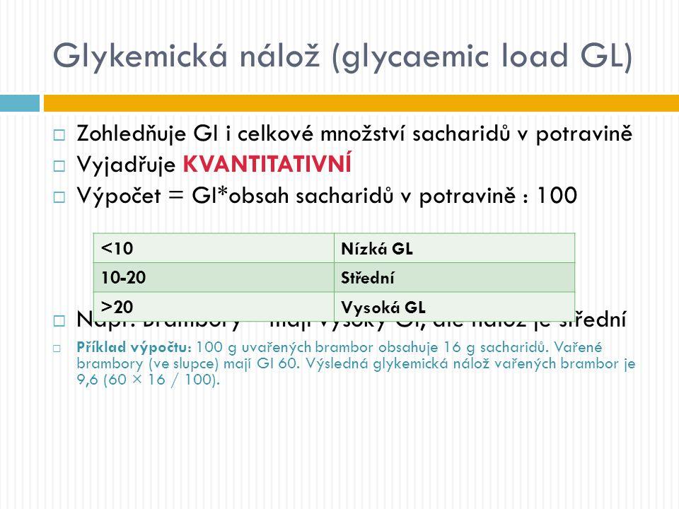 Glykemická nálož (glycaemic load GL)  Zohledňuje GI i celkové množství sacharidů v potravině  Vyjadřuje KVANTITATIVNÍ  Výpočet = GI*obsah sacharidů v potravině : 100  Např.