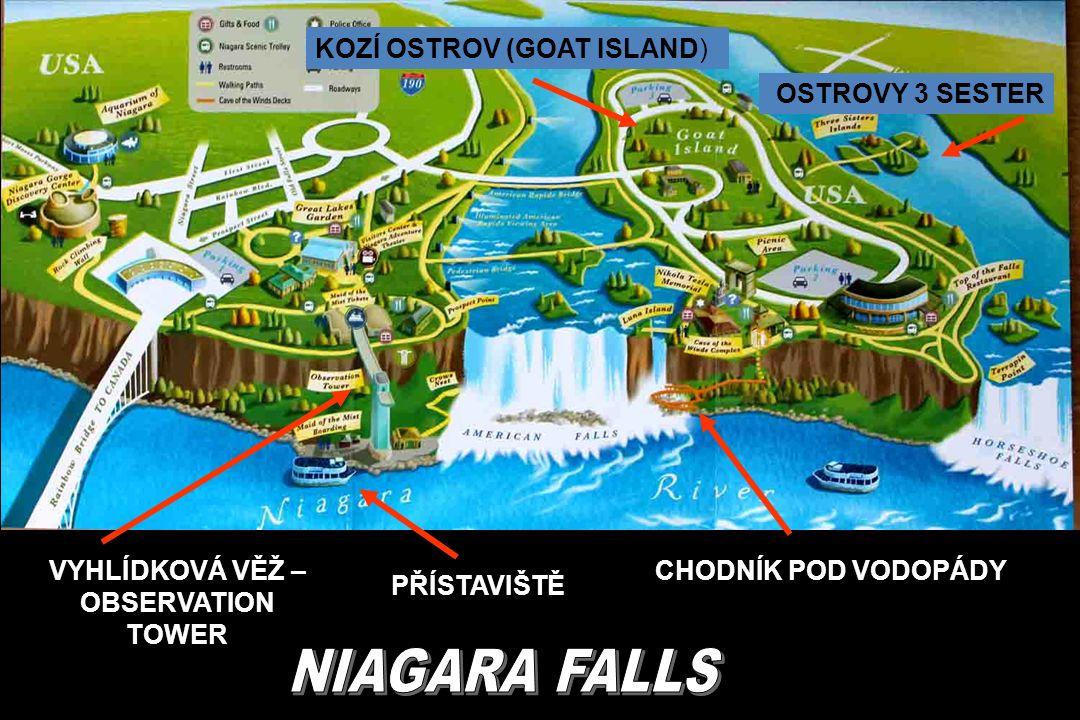 DIVOKÝ TOK ŘEKY NIAGARA NAD VODOPÁDY, MOST NA GOAT ISLAND (KOZÍ OSTROV)