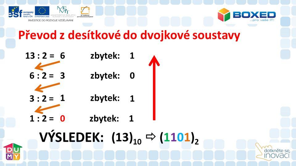 Převod z desítkové do dvojkové soustavy 13 : 2 = 6 : 2 = 3 : 2 = 1 : 2 = 6 3 1 0 zbytek: 1 0 1 1 (13) 10  (1101) 2 VÝSLEDEK: