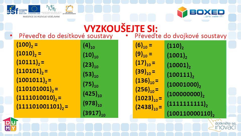 VYZKOUŠEJTE SI: Převeďte do desítkové soustavy Převeďte do dvojkové soustavy (100) 2 = (1010) 2 = (10111) 2 = (110101) 2 = (1001011) 2 = (110101001) 2 = (1111010010) 2 = (111101001101) 2 = (4) 10 (10) 10 (23) 10 (53) 10 (75) 10 (425) 10 (978) 10 (3917) 10 (6) 10 = (9) 10 = (17) 10 = (39) 10 = (136) 10 = (256) 10 = (1023) 10 = (2438) 10 = (110) 2 (1001) 2 (10001) 2 (100111) 2 (10001000) 2 (100000000) 2 (1111111111) 2 (100110000110) 2