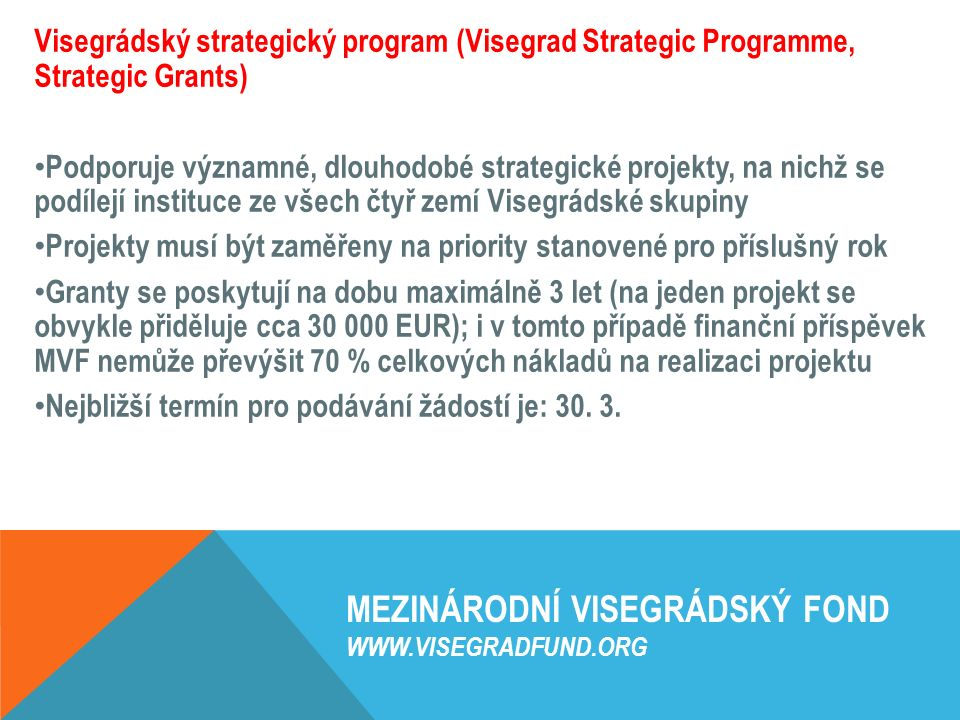 MEZINÁRODNÍ VISEGRÁDSKÝ FOND WWW.VISEGRADFUND.ORG Visegrádský strategický program (Visegrad Strategic Programme, Strategic Grants) Podporuje významné,