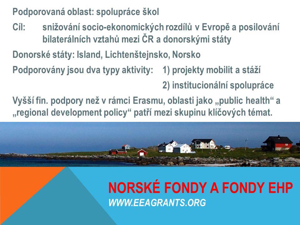 NORSKÉ FONDY A FONDY EHP WWW.EEAGRANTS.ORG Podporovaná oblast: spolupráce škol Cíl: snižování socio-ekonomických rozdílů v Evropě a posilování bilater
