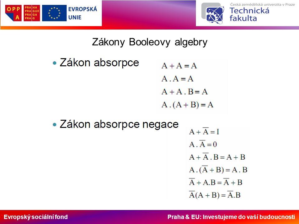Evropský sociální fond Praha & EU: Investujeme do vaší budoucnosti Zákony Booleovy algebry